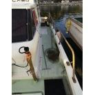 漁探の振動子は船底貫通型の昇降式